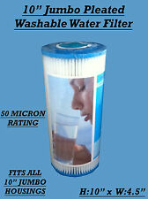 "10"" x 4.5"" Pleated Sediment Washable Water Filter Cartridge , Hard Water , WVO"
