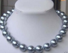 """8mm Silver Gray SOUTH SEA SHELL PEARL NECKLACE 18"""""""