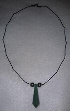 Naruto Green Jade Chakra Crystal Silk Necklace Sterling Silver Balls and Clasp