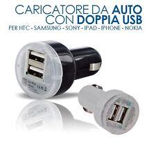 CARICABATTERIE AUTO PRESA ACCENDISIGARI DOPPIA USB HTC NOKIA IPAD IPHONE GALAXY