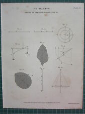 1807 DATED ANTIQUE PRINT ~ MECHANICS ~ CENTER OF GYRATION OSCILLATION DIAGRAMS