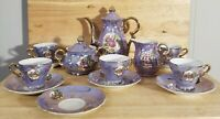 Vintage Purple Porcelain China Teapot Set w/ Cream & Sugar Bowls, Cups & Saucers