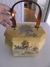 VINTAGE 8-SIDED WOODEN FLORAL DECOUPAGE BOX PURSE W/TWISTED AMBER LUCITE HANDLE
