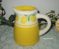 "Terramoto Ceramic Lemon Small Water Pitcher / Vase 5"" Tall Yellow AS-IS"
