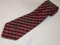 New Tommy Hilfiger Tie Black Burgandy Plaids Stripe Luxury Woven Necktie Silk