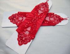 1g Red Luxurious Bridal Satin Elbow Length Fingerless Wedding Prom Gloves