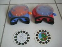 Lot of 2 Vintage 2002 PURPLE & RED  VIEW-MASTER  Fisher Price + 2 Reels