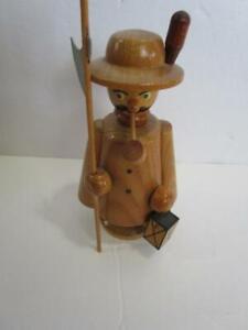 Vintage Erzgebirge Germany Wooden Incense Burner Figurine Man Smoking Pipe