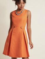 Modcloth So Sixties Orange Retro A Line Textured Dress Size Xs Nwot