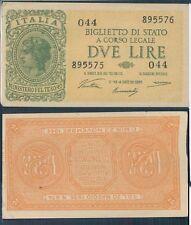 """2 LIRE """" ITALIA LAUREATA"""" DEC. 23 NOVEMBRE 1944 BB"""