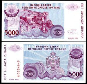 Croatia 5000 Dinara 1993 P R20 XF LOT 10 PCS 1/10 BUNDLE