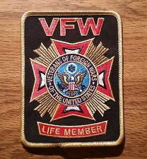 Veterans of Foreign Wars (VFW Life Member) Embroidered Black Patch - New Style