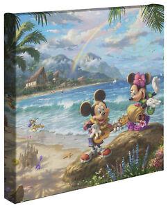 Thomas Kinkade Studios Mickey and Minnie in Hawaii 14 x 14 Canvas Wrap