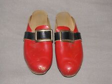 Vtg Authentic Swedish Norwegian Wood Leather Clogs Xmas Santa Red 36 Or Decor