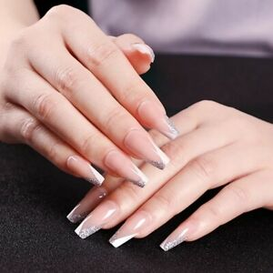 Glossy nude long coffin french manicure glitter V ballet press on fake nails