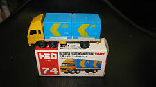 TOMY TOMICA 1.102 SCALE #74 MITSUBISHI FUSO CONTAINER TRUCK  MADE IN JAPAN