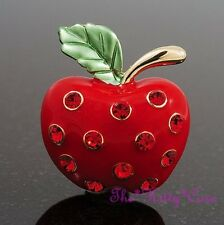 Chic Red Enamel & Gold Pltd Apple Bling Brooch Pin w/ Bright Swarovski Crystals