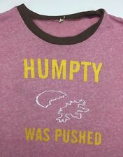 Vintage Mens M/L 70s 80s Funny Humpty Dumpty Was Pushed Pink Ringer T-Shirt
