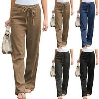 Womens Ladies Casual Cotton Linen Baggy Wide Leg Plus Size Trousers Loose Pants