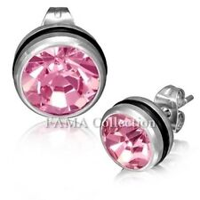 FAMA Stainless Steel 2tone Circle Stud Earrings w/ O-Rings & Pink Gem Stones