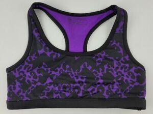 Justice Girls Size 30 Purple Black Cheetah Print Dance Pullover Sports Bra
