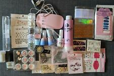 Nail Art Lot Kit Set - Stamping Plates, Stamping Polish, Chrome Powder, Decals