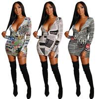 Sexy Women's V Neck Long Sleeve Print Bodycon Evening Party Skirt Clubwear Dress