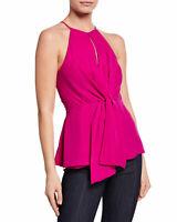 NWT- Cinq a Sept Bailey Tie-Front Sleeveless Silk Top, Fuchsia - Size XSmall