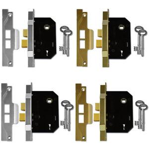 Rebated Double Door Mortice Union 2242 Sashlock Sash Lock 2 Lever Brass Silver