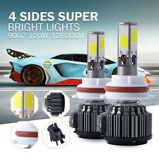 Set(2) 4 Side COB 120W 12800lm LED Headlight Kit HB5 9007 Hi/Lo Beam 6000K Bulbs