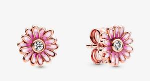 🌹PANDORA 925 SILVER PINK COLRL  Daisy Flower Stud Earrings 🌼