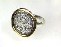 EXQUISITE SPAIN COLONIAL PIRATE SHIP WRECK COIN .925 STERLING SILVER RING