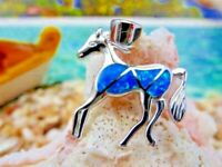 MAGNIFICENT REAL STERLING SILVER BLUE OPAL HORSE PENDANT