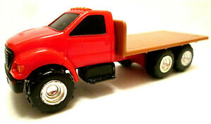 2008 ERTL Red Cab Ford 3-Axle Brown Flatbed Truck - Tinted Glass - Roof Lights