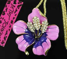 Betsey Johnson pink  Crystal Rhinestone Flower Pendant Women's Necklace