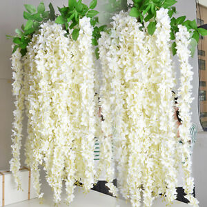 2 Bunches White Wisteria Garland Fake Silk Flowers Vines For Wedding Decorations
