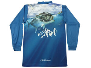 Long Sleeve Fishing Polo Tournament Shirt - Blue GT