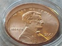 BU 2001 ERROR LINCOLN CENT US Penny,  25% STRUCK OFF CENTER w Holder.