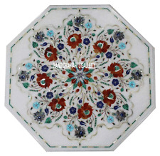 "22"" White Marble Coffee Table Top Pietra Dura Inlaid Semi Precious Garden H3029B"