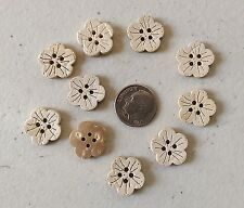 "Lot of 10 FLOWER 4-hole Coconut Shell Buttons 5/8"" (15mm) Craft (427)"