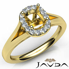 Cushion Diamond Semi Mount Engagement 18k Yellow Gold Halo Setting Ring 0.20Ct