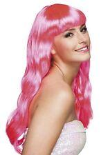 Womens Adults Hot Pink Long Wavy Wig + Fringe Fancy Dress Hairpiece