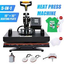 5 In 1 Heat Press Machine Professional 360 Swing Away T Shirt Press 15x15 Inch