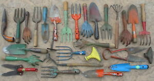 Vtg Old Country Garden Tools Spade Claw Hoe Clippers Dirt Fork Hand Rake 28 Lot