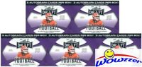 (5) 2021 Leaf Draft Football PREMUM HOBBY Factory Sealed Blaster Box-15 AUTOS