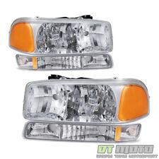 1999-2006 GMC Sierra Yukon Crystal Headlights w/ Bumper Signal Lights Left+Right