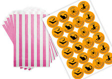 Halloween Party Purple & White Sweet Party Bags with 45mm stickers x 24
