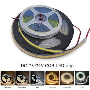 COB LED Strip Light 252 300 480 LEDs High Density  Flexible LED Lights 12v 24v