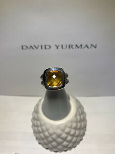 David Yurman Sterling Silver 11mm Albion Ring with Citrine size 8