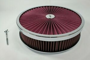 14x3 Round Super Flow Chrome 4BBL Washable Air Cleaner Assembly (Flat Base)